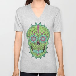 Skull with a floral style Unisex V-Neck