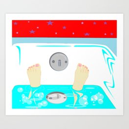 Soaking in the Tub with Red Wallpaper Art Print