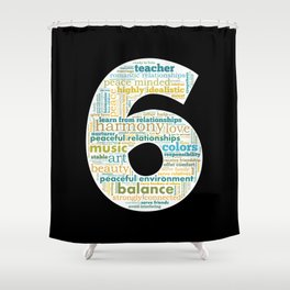 Life Path 6 (black background) Shower Curtain