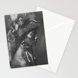 Native American Piegan Warrior, Yellow Kidney, portrait black and white photography Stationery Cards