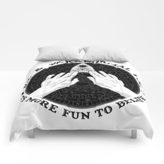 Me & Paranormal You - James Roper Design - Ouija B&W (black lettering) Comforters