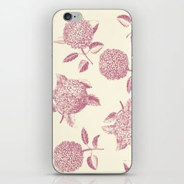 Big lush hydrangea flowers on off-white background seamless pattern. Pale pink. Atemporal, classic. iPhone Skin
