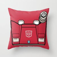transformers Throw Pillows featuring Transformers - Sideswipe by CaptainLaserBeam
