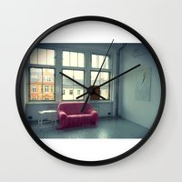 sofa Wall Clocks featuring The Pink Sofa' by Anna Andretta