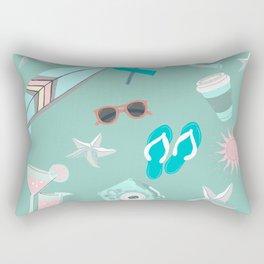 cute girly pink teal turquoise blue starfish sufer summer beach life Rectangular Pillow