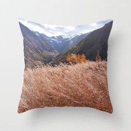Gold autumn landscape in mountain Throw Pillow