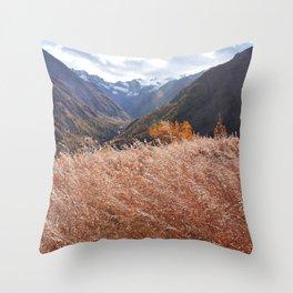 Gold autumn landscape in mountain Throw Pillow