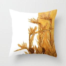 Bird of paradise. Golden Throw Pillow