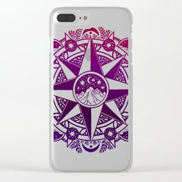 Journey to Moon Mountain   Purple & Magenta Ombré Clear iPhone Case