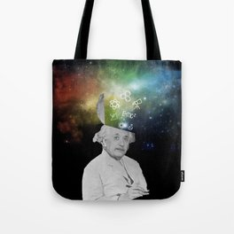 Albert Einstein With A Rainbow Galaxy Tote Bag