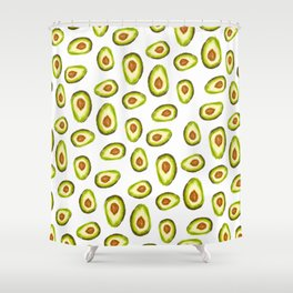 Modern hand painted avocado green brown watercolor pattern Shower Curtain