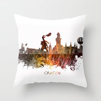 poland Throw Pillows featuring Cracow Poland by jbjart