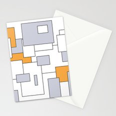 Squares - gray, orange and white. Stationery Cards