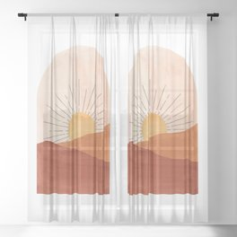 Abstract terracotta landscape, sun and desert Sheer Curtain
