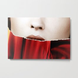 Ripped // Lips  Metal Print