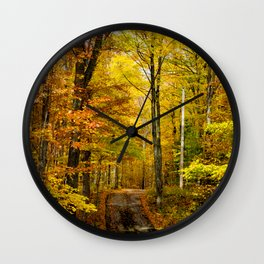 Wisconsin Fall Roadway (Nature Photography) Wall Clock