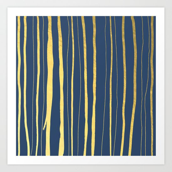 Vertical Living Navy and Gold Art Print