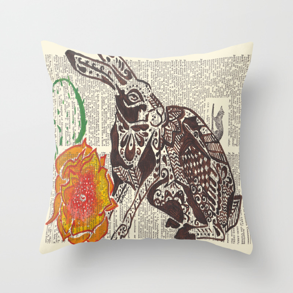 Jumpin' Jack Flash (jack Rabbit And Cactus Flower… Throw Pillow by Janinwise PLW928718
