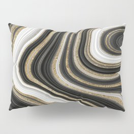 Gold And Black Agate Gemstone Pillow Sham