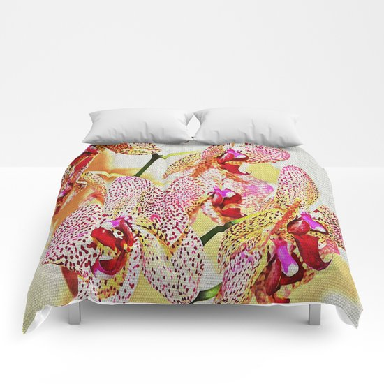 Painted Spotted Orchids Comforters