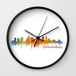 Columbus Ohio, City Skyline, watercolor  Cityscape Hq v2 Wall Clock