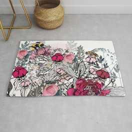 Beautiful vector illustration with peony flowers, herbs, plants and bees in vintage style Rug