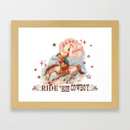 Retro Cowboy Framed Art Print