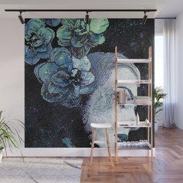 Obey Me: Blue (graffiti flower woman portrait) Wall Mural