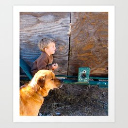 The Kid and his Dog. Art Print