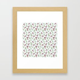 Hand painted pastel green pink watercolor leaves pattern Framed Art Print