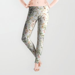 Dainty Intricate Pastel Floral Pattern Leggings