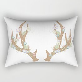 Antlers with flowers and leaves Rectangular Pillow