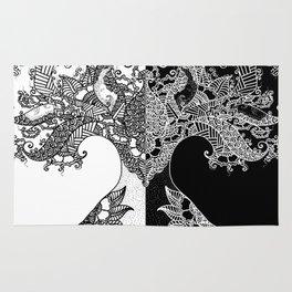 Unity of Halves - Life Tree - Rebirth - White Black Rug