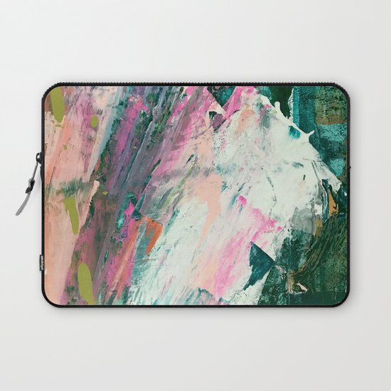 Meditate [2]: a vibrant, colorful abstract piece in bright green, teal, pink, orange, and white by blushingbrushstudio