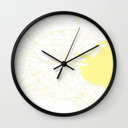 White on Yellow Dublin Street Map Wall Clock