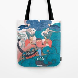 Nautical Strong Man and Sirens of the Sea Tote Bag