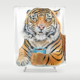 Too Early Tiger Shower Curtain
