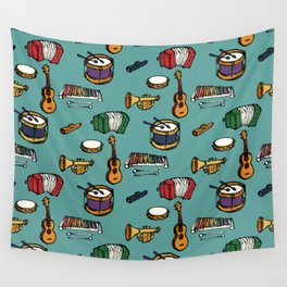 Toy Instruments on Teal Wall Tapestry