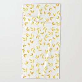 Yellow Leaves Beach Towel
