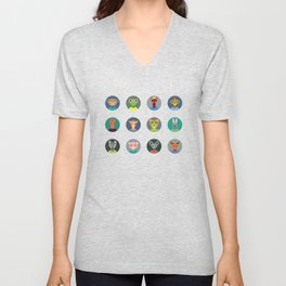 Chinese zodiac collection, Set of animals faces circle icons in Trendy Flat Style Unisex V-Neck