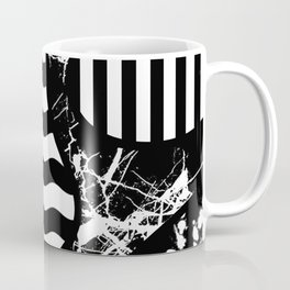 Curvy Contrast - Black and white stripes, waves, marble and paint splats abstract artwork Coffee Mug