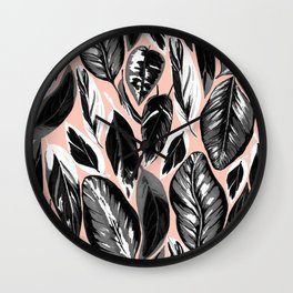 Calathea black & grey leaves with pale background Wall Clock