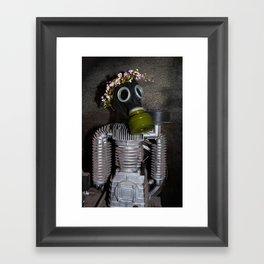 Household robot with gasmask Framed Art Print