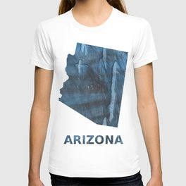Arizona map outline Dark Gray Blue clouded watercolor pattern T-shirt