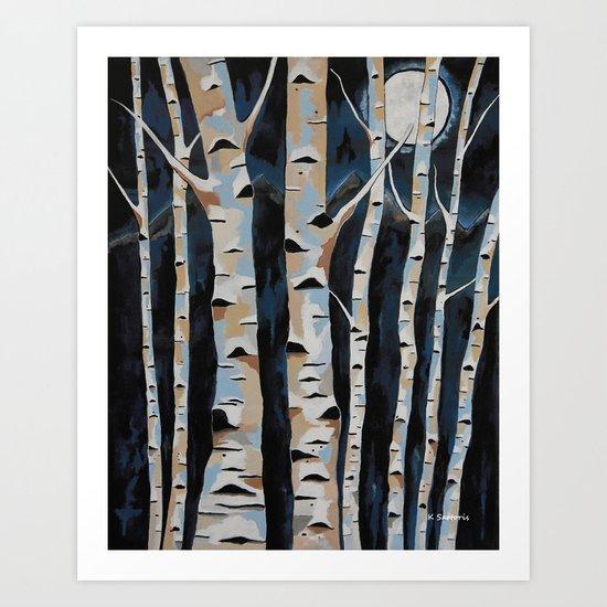 Moonlight And The Birch Art Print