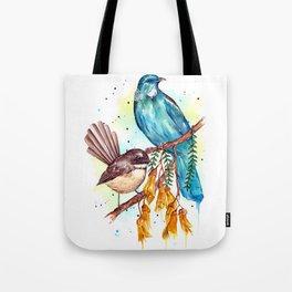 Kowhai Tui and Fantail Tote Bag