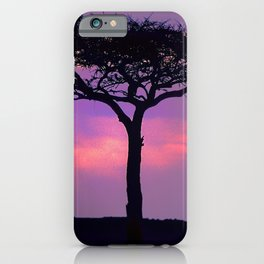 African Acacia Tree With Magically Mindful Sunset iPhone Case