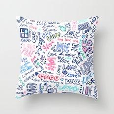 Love Love Love - ballpoint doodles Throw Pillow