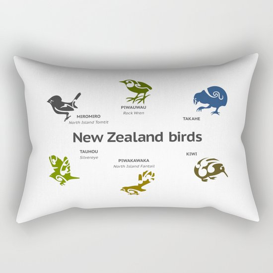 New Zealand Birds Rectangular Pillow