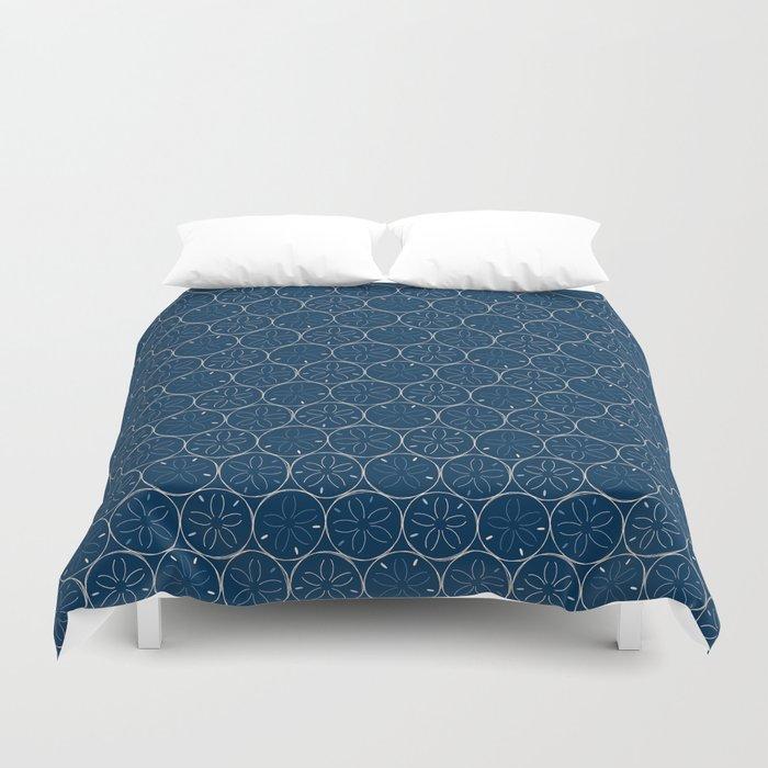 Sanddollar Pattern in Blue Duvet Cover